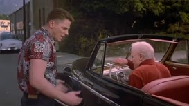 Get the hell out of my car, old man.