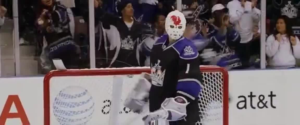 "French-Canadian goalie, Jacques ""Le Coq"" Grande."