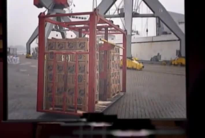 Completely containerized cargo arrives and departs...