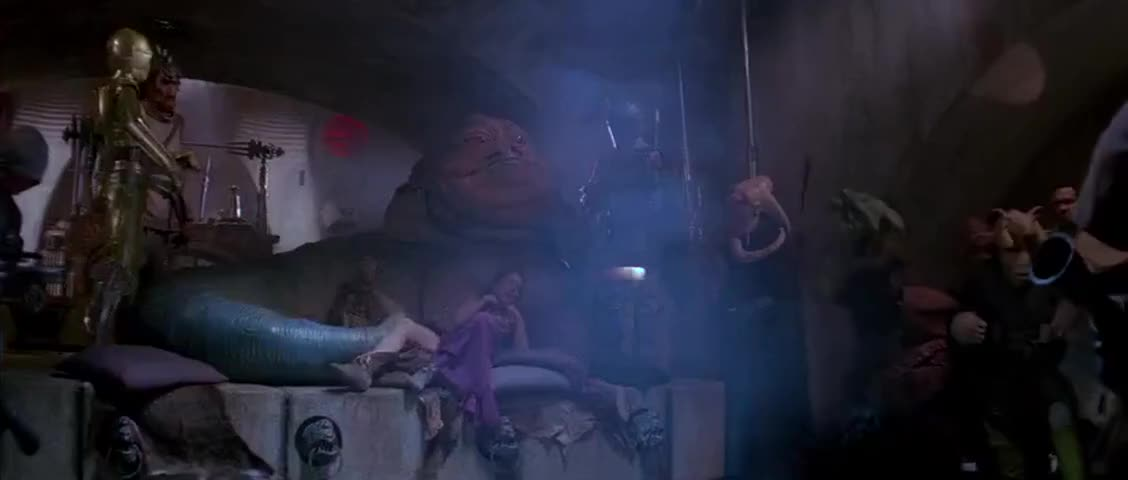 [Speaking Huttese] Bring me Solo and the Wookiee.