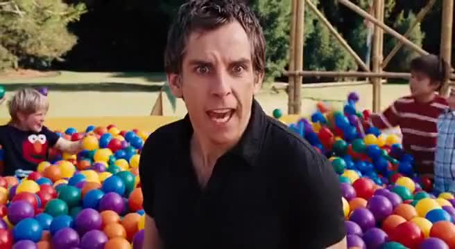 Get out of the ball pit! Get out of the ball pit! Get out!