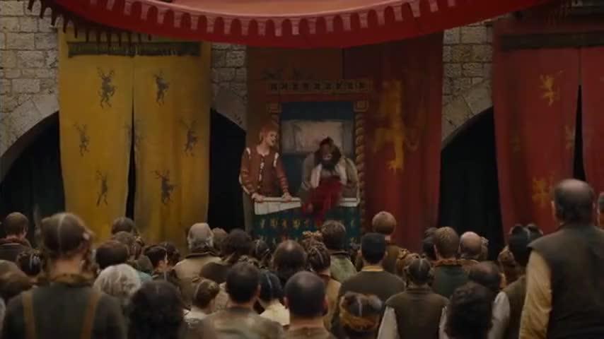 - Shut up, you swine! Cersei, more wine. - (laughs)