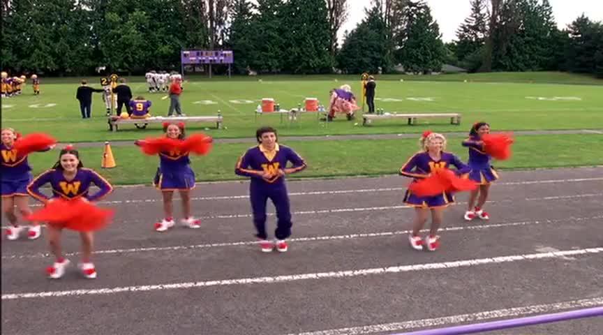 WAYNE: And Darren joined the cheerleading squad.
