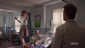 waving her arms around?