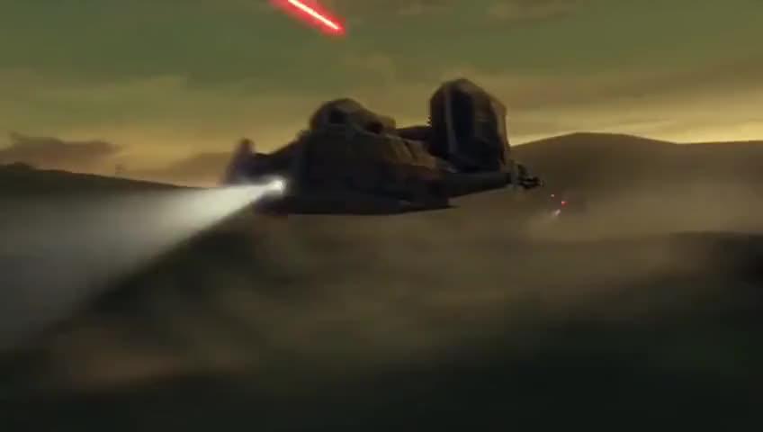 [blasters firing]