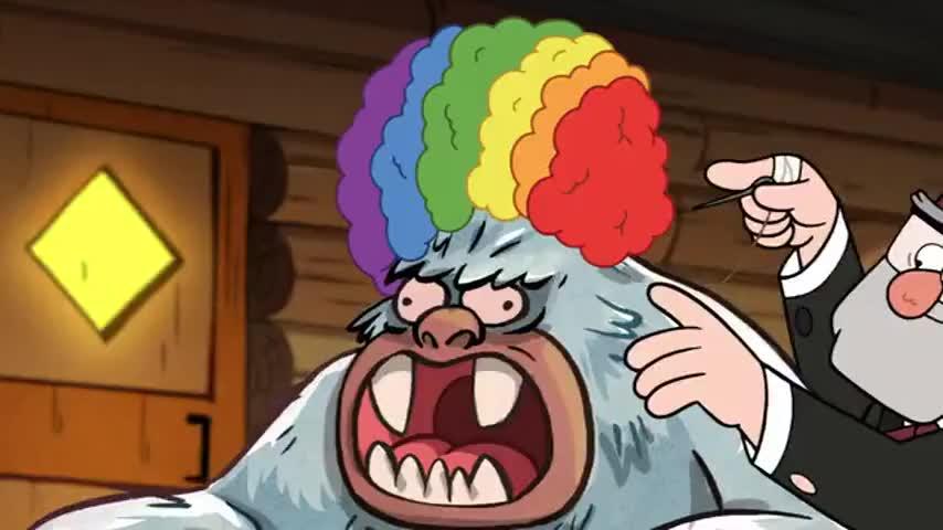 ♪ Putting a rainbow wig on a big white gorilla ♪