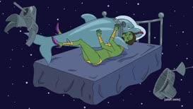 Astronaut Dolphin detective has fallen in love.
