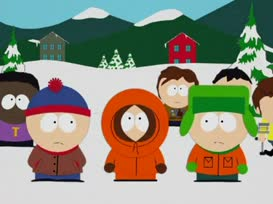 Cartman thinks he can fly off of his roof.