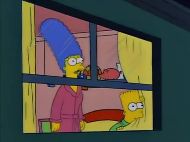 Oh, Bart, it's just an old golf umbrella stuck in a tree.