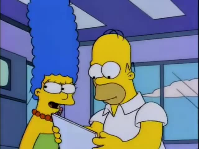 Hello, I'm Marge Simpson, and this is my husband, Homer.