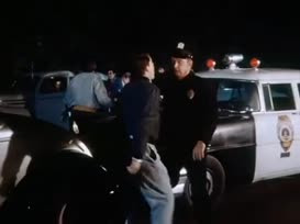 Hi, officer. I'm Potsie Weber of the school safety patrol.