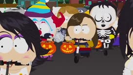 """[ Car alarm blaring and children all yelling """"Trick or treat"""" ]"""