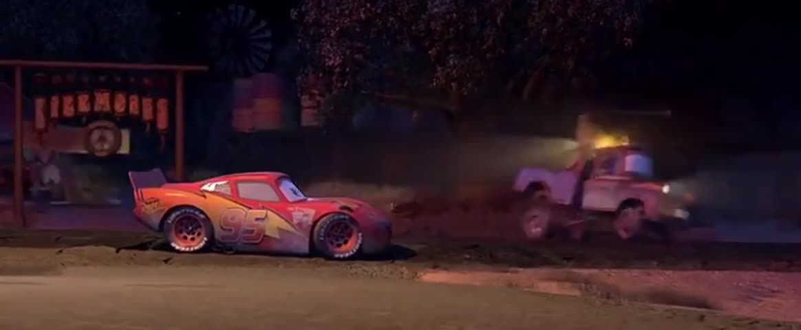 Yarn Mcqueen And Sally Parked Beneath A Tree Cars 2006